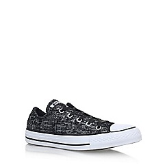 Converse - Black 'Ct Sparkleknit Low' flat lace up sneakers