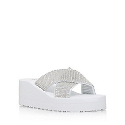 Miss KG - White 'Delaney' slip on wedge sandal