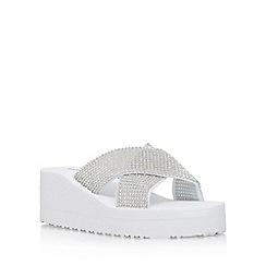 Miss KG - White 'Delaney' slip on wedge sandal