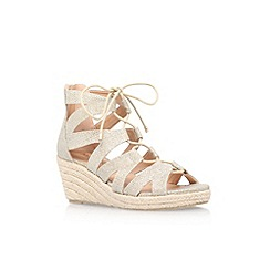 Miss KG - Gold 'Phoebe' mid heel lace up wedge sandals