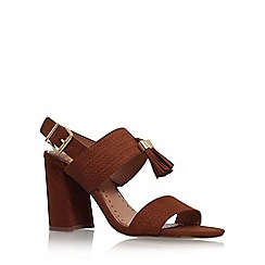 Miss KG - Brown 'Elaina' mid heel sling back sandals