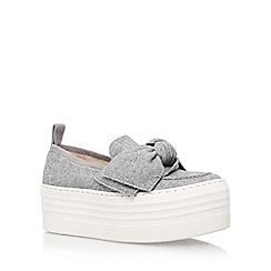 KG Kurt Geiger - Grey 'Lucky' mid heel wedge sneaker