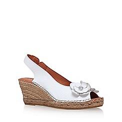 Carvela Comfort - White 'Poppy' high heel wedge sandals