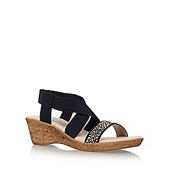 Carvela Comfort - Black 'Sand' high heel wedge sandals