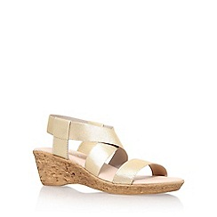 Carvela Comfort - Light gold 'Sand' high heel wedge sandals
