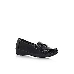 Solea - Black 'Dawn' mid heel slip on loafers