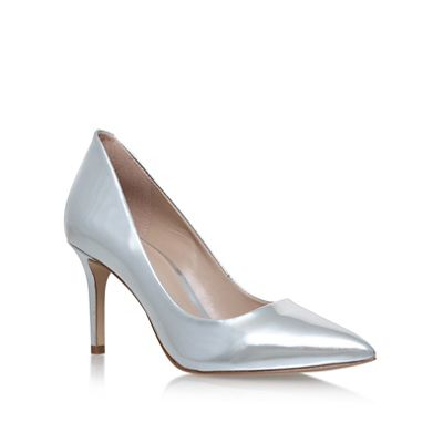 kg kurt geiger silver high heel court shoes