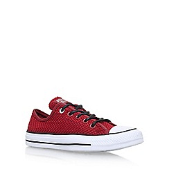Converse - Red 'Ct Amp Cloth Weave Low' flat lace up sneakers