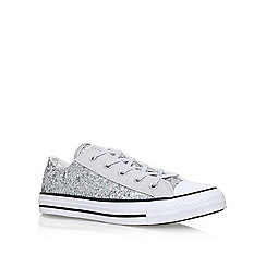 Converse - Silver 'Ct Textile Glitter Low' flat lace up sneakers