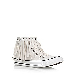 Converse - Cream 'Ct Wash Denim Fringe Hi' Flat Lace Up Sneakers