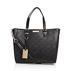 Carvela - Black 'Dina' Cross Stitch Tote Handbag With Shoulder Straps
