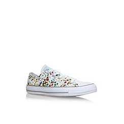 Converse - White 'CT Print Woven LW' flat lace up sneakers