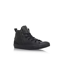 Converse - Black CT Sloane Mono Lea HI' flat lace up sneakers