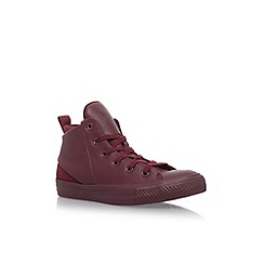 Converse - Red CT Sloane Mono Lea HI' flat lace up sneakers