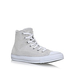 Converse - Silver 'Sting Ray Lea Hi' flat lace up sneakers