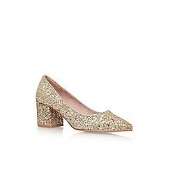 KG Kurt Geiger - Gold 'Dazzle' low heel court shoe