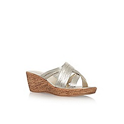 Solea - Gold 'Saffia' mid heel wedge sandal