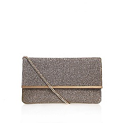 Miss KG - Metal 'Haeleigh' clutch bag with shoulder chain