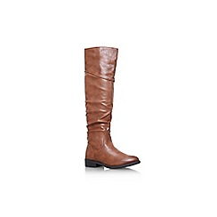Miss KG - Tan 'Willa' flat rouche knee boot