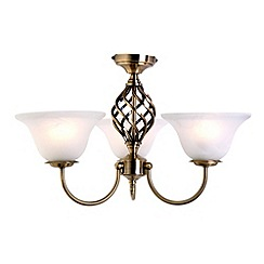 Litecraft - Antique Brass Spiral 3 Light Ceiling Light