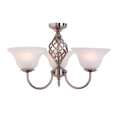 Litecraft - Satin Chrome Spiral 3 Light Ceiling Light