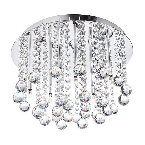 Litecraft - Polished Chrome Melanie Flush Crystal Ceiling Light