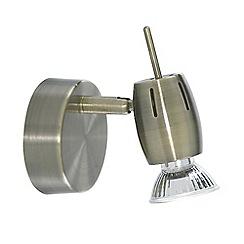 Litecraft - Frank 1 Light Adjustable Wall Spotlight - Antique Brass