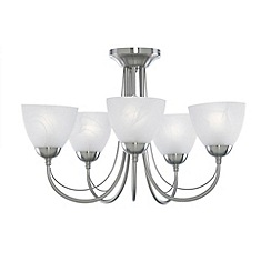 Litecraft - Satin Nickel Barcelona 5 Light Ceiling Light
