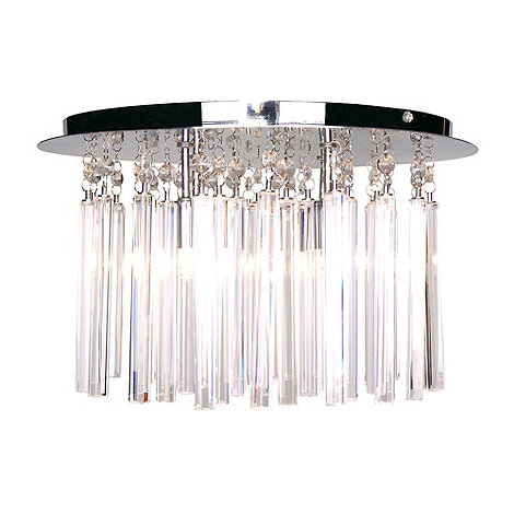 Litecraft - Polished Chrome Emily 4 light Crystal Prism Bar Flush Ceiling Light