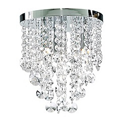 Litecraft - Chrome Montego 4 Light Flush Crystal Ceiling Light
