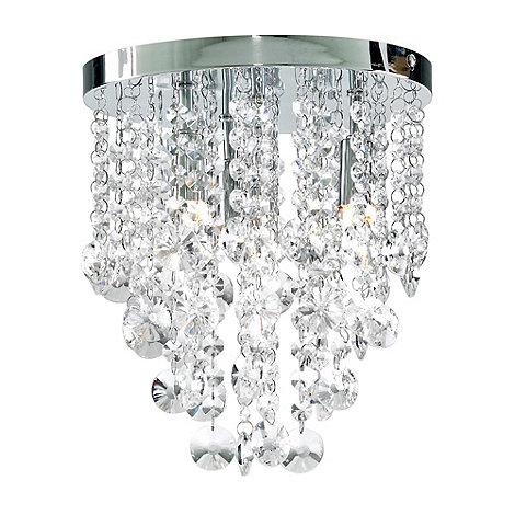 Litecraft - Chrome Montego 4 Light Flush Crystal Ceiling Light