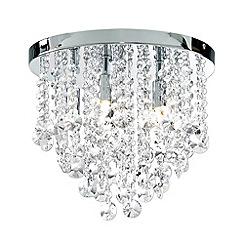 Litecraft - Montego Flush 6 Light Chrome Crystal Ceiling Light