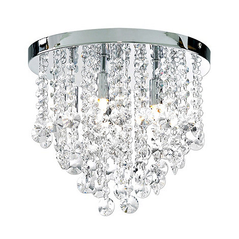 Litecraft - Montego Flush 6 Light Chrome Crystal Ceiling Light