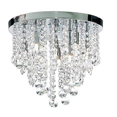 Litecraft - Chrome Montego 9 Light Flush Crystal Ceiling Light