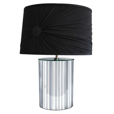 Litecraft Mirror Base Table Lamp With Black Satin Shade