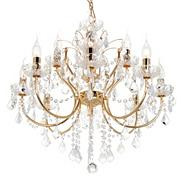 Polished Gold Maple 12 Light Crystal Chandelier