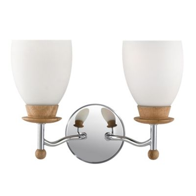 Litecraft Chrome 2 Light Wood Effect Wall Light - review, compare prices, buy online