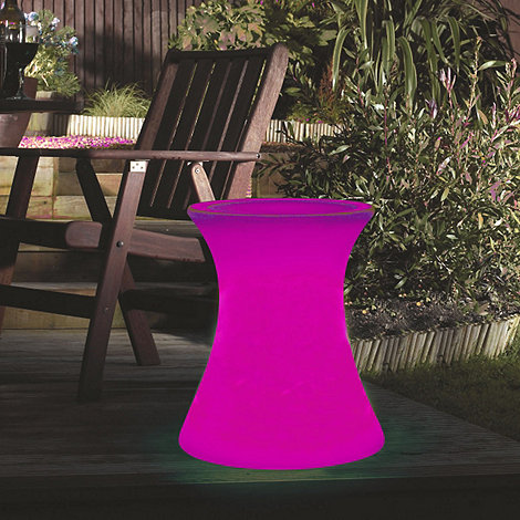 Litecraft - Pink Illuminated Side Table with Glass Top