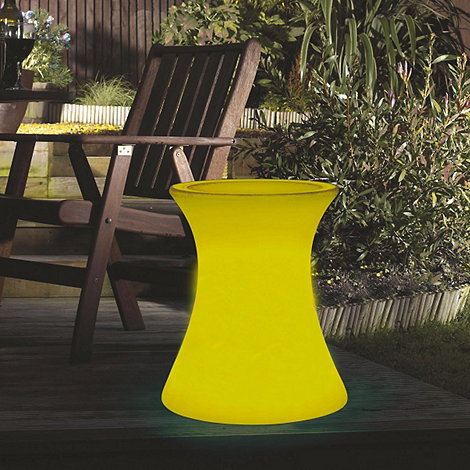 Litecraft - Yellow Illuminated Side Table with Glass Top