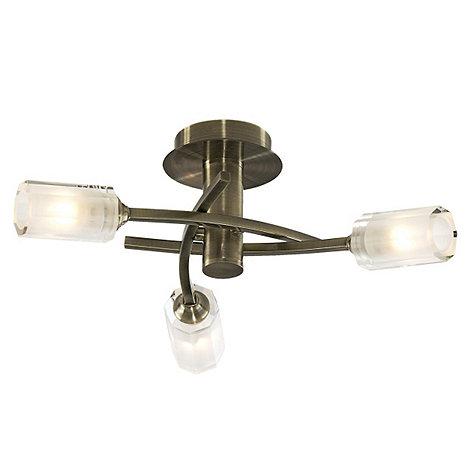 Litecraft - Octi 3 Light Antique Brass Ceiling Light