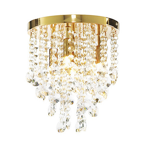 Litecraft - Montego Gold 4 Light Crystal Ceiling Light