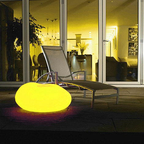 Litecraft - Yellow CFL Illuminated Decorative Pebble Light