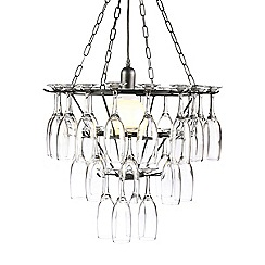 Litecraft - Black Silver Three Tier Champagne Flute Glass Chandelier