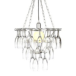 Litecraft - Silver Three Tier Champagne Flute Glass Chandelier