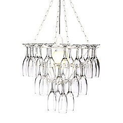 Litecraft - White Three Tier Champagne Flute Glass Chandelier
