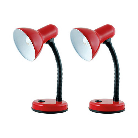 Litecraft - Pack Of 2 Red Flexi Neck Desk Lamps
