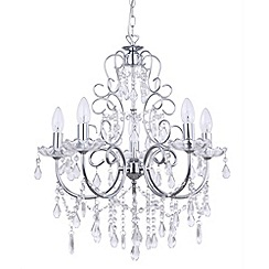 Litecraft - Madonna 5 Light Dual Mount Chrome Chandelier