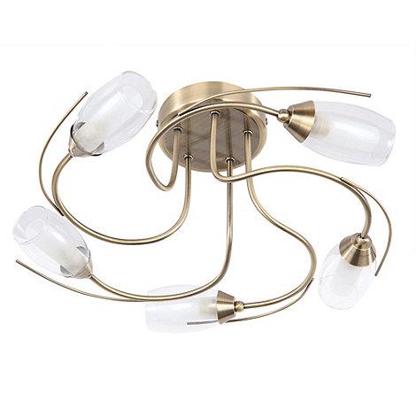 Litecraft - Alex 5 Light Flush Ceiling Light - Antique Brass