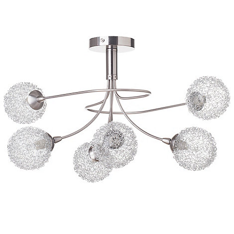 Litecraft - Allium 6 Light Satin Nickel Ceiling Light
