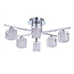 Litecraft - Ice cube Chrome 5 light ceiling light